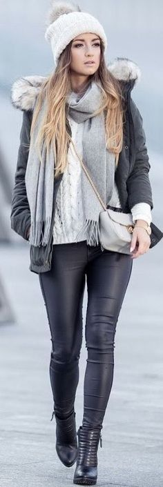 Stitch Fix Fall/Winter Fashion! Sign up today for your own personal stylist Grey and white Winter layers with faux leather leggings and booties.