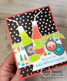 Bubble Over soda bottle card with straws and bottlecaps, featuring Stampin' UP! Bubbles & Fizz Sale a Bration paper. Card by Patty Bennett