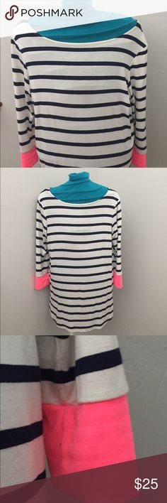 3/4 sleeve Colette shirt This is a 3/4 sleeve striped long shirt. The sleeve are striped with a pink end. It looks fabulous under a cardigan with the pink peeking through at the ends! It also goes with a pair of jeans! Tops Tees - Long Sleeve