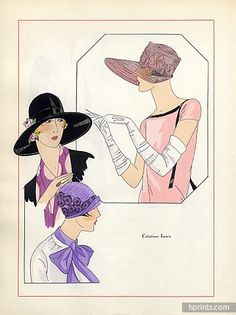 Lewis (Millinery) 1926 Fashion Illustration hats, Pochoir