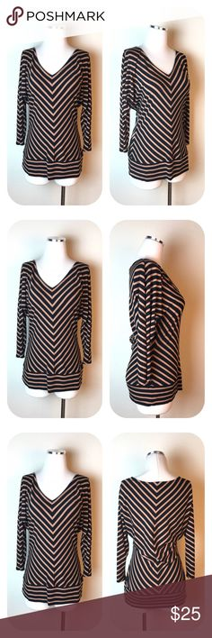 """Philosophy Brown Chevron Stripe V-Neck Blouse S Philosophy Chevron Brown Blouse  Size S  -  V-Neck -  3/4 Sleeves -  Super Soft Fabric    95% Rayon 5% Spandex -  Size Small     Armpit to armpit 18""""     Armpit to end of sleeve 15""""     Shoulder to hem 26""""  Thanks for visiting! Philosophy Tops Blouses"""