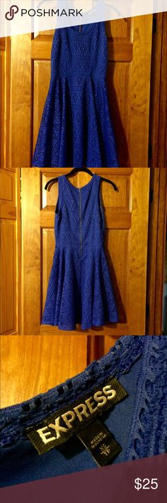 Express blue crochet dress Express blue crochet dress. Gorgeous, flattering dress. Excellent condition. Size XS. You'll love it!!! Express Dresses