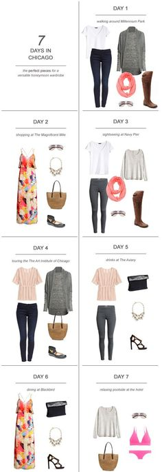 7 Days in Chicago : The Perfect Pieces for a Versatile Honeymoon Wardrobe - Kiss My Tulle : 7 Days in Chicago : The Perfect Pieces for a Versatile Honeymoon Wardrobe Capsule Wardrobe, Travel Wardrobe, Style Casual, Style Me, Chicago Outfit, Travel Capsule, Travel Clothes Women, Adidas Outfit, Minimalist Wardrobe
