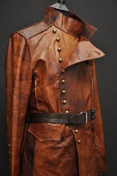 MENS LEATHER STEAMPUNK ROCK MILITARY JACKET UNIQUE TAN | eBay