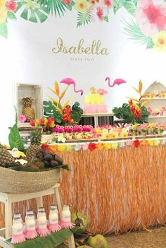 Dessert Table from a Tropical Hawaiian Flamingo Party via Kara's Party Ideas Aloha Party, Party Kulissen, Moana Birthday Party, Moana Party, Luau Birthday, Tiki Party, Festa Party, Birthday Party Themes, Party Ideas