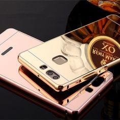 Espejo de la galjanoplastia de aluminio de lujo caso para huawei honor 8 v8 4x 5x 6x 5c 7 nova 7i p8 p9 más mate 7 8 de metal marco de la pc de la contraportada