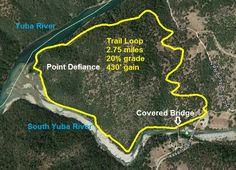 Aerial view/map of the Pt. Defiance trail loop at the South Yuba River recreation area, Nevada County.