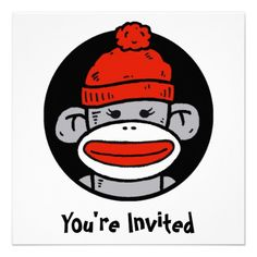 Sock Monkey Card / Invitation