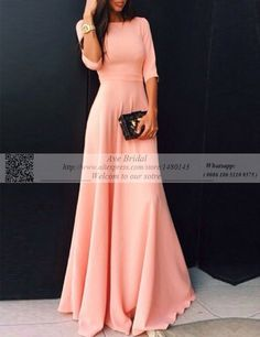 2016 Coral Long Elastic Satin Modest Bridesmaid Dresses With Sleeves Floor Length Wedding Party Guests Peach Maxi Dress