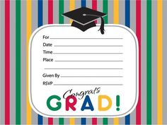 Celebrate the new graduate with our Graduation Stripes Invitations, perfect for any grad party. Package contains 25 invitations with envelope.
