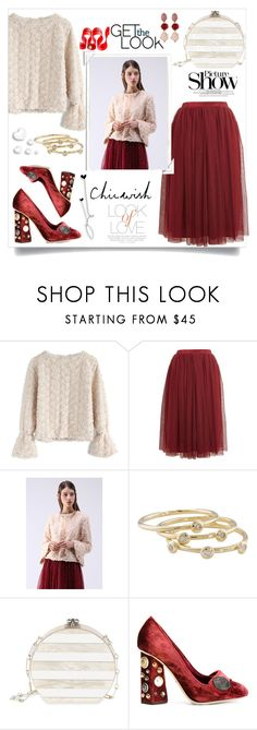 """""""Valentines Day"""" by faten-m-h ❤ liked on Polyvore featuring Chicwish, Lace & Beads, London Road, Edie Parker, Vince, Dolce&Gabbana, Oscar de la Renta, Valentino and SANCHEZ"""