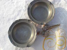 pewter ashtray bowl scalloped small coaster by vintagefullhouse