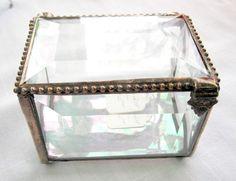 Stained Glass Jewelry Box, Keepsake, Glass Box, Rosary Box, Alternative Ring Bearer Box, Christening Gift, Bridsmaids Gift, Wedding Gift  A