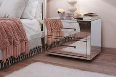 stylish mirrored exterior of Queen 2 nightstand