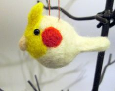 Felted Cockatiel - Felted Christmas Ornament - Needle Felted Bird