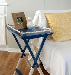 Nautical TV Tray Table Makeover