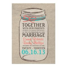 Mason Jar Rustic Wedding Invitation - Coral Teal in each seller & make purchase online for cheap. Choose the best price and best promotion as you thing Secure Checkout you can trust Buy bestDeals          Mason Jar Rustic Wedding Invitation - Coral Teal please follow the link to see ...