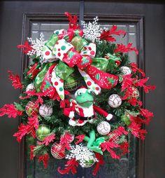 Sale Christmas Wreath Frog Santa Front Door Wreath by LuxeWreaths, $139.00