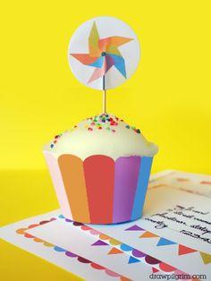 Free printable cupcake paper and topper via Draw Pilgrim.