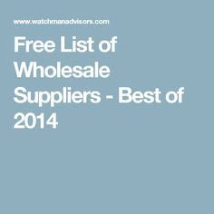 Free List of Wholesale Suppliers - Best of 2014