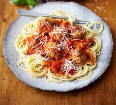 Spaghetti & meatballs with hidden veg sauce - I love the way this recipe sets out Childrens and Adults steps separately