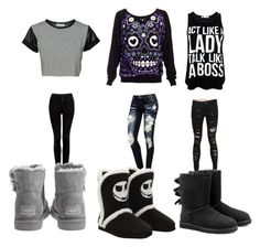 """""""Başlıksız #71"""" by nehirsanlidag ❤ liked on Polyvore featuring beauty, Forever New, Hot Topic and UGG Australia"""