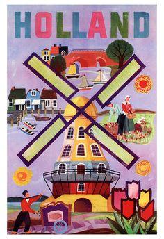 Holland Poster, Netherlands, Windmill, Dutch, Vintage Travel Poster