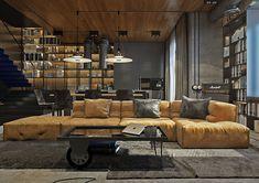 Create a dark and dreamy industrial home decor mood.