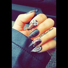 Sheer Black Nails | pinterest: @xpiink ♚