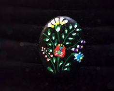 Bague folk fleurs, galet pierre peinte