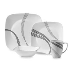 Tabletops Unlimited® Pescara Square Porcelain 16-Piece Set ...