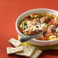 Veggie Soup with Meatballs (uses frozen fully cooked meatballs - could use Trader Joes)