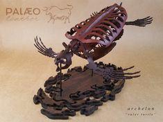 Leather Archelon, the ancient giant sea turtle. Giant Sea Turtle, Dinosaur Skeleton, Dinosaur Fossils, Natural Toys, Leather Art, Prehistoric, Sculpture, Artist, Kunst