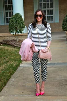 Wake Up Your Wardrobe What I Wore: Pattern Play Pink Coat, Pastel Coat, Polkadot Pants, Striped Sweater, Rock Stud Heels, Tory Burch Thea Purse, Karen Walker Super Duper, YSL Lingerie Pink