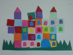château (collage de formes) - beginning of the year cutting and pasting lesson (smooth lines, no drips) Teaching Shapes, Teaching Art, Petite Section, Castle Crafts, Paul Klee Art, Fairytale Art, Collaborative Art, Crafty Kids, Art Themes