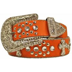 Orange Studded Cross Belt With Rhinestone Buckle ($23) ❤ liked on Polyvore featuring accessories, belts, jeweled, orange, cowgirl belts, western belts, wide buckle belt, jeweled belt and rhinestone belts