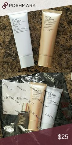 Estee lauder cleanser and mask travel size Perfectly Clean multi action foam cleanser and anti-aging mask boost plus an advanced night repair serum (in the bag in the second picture) the plastic bag has a small tear but none of the product has been used. Serum is .5 Oz cleanser and mask are both 1.7 Oz Estee Lauder Other