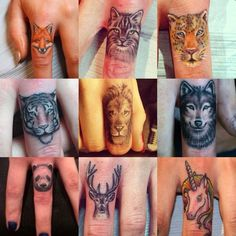 Was never for finger tattoos but I've come to absolutely adore these animal ones! The fox deer and wolf are the cutest. The lion is cara develingne's :D: