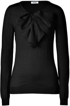 MOSCHINO Black Big Bow Embellished Wool Pullover - Lyst