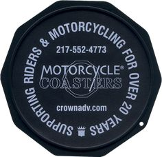 The Original Custom Imprinted Motorcycle Coaster® Blue Motorcycle, White Ink, Coasters, Plate, Messages, Printed, Check, Color, Dishes