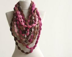 fabric bolts fine art | Bubble chain scarf necklace Infinit y crochet Pink fuchsia brown ...