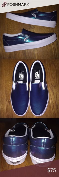 Vans Slip On Patent Leather Men 8/Women 9.5 New I'll do $65 shipped firm if serious and ready to buy, let me know! Vans Slip On Blue Patent Leather - Men's size 8/Women's 9.5 US (UK 7). New and 100% authentic! If seriously interested in purchasing, please let me know for details! NO returns or exchanges! I ship internationally also! Check out my other listings as well! Thanks! #vans #vansauthentic #blue #leather #white #authentic #skate #offthewall #rare #shiny #shoes #sneakers #sneakerhead…