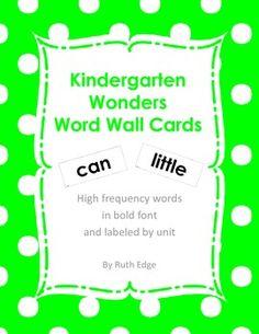 Kindergarten Wonders Word Wall Cards $