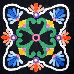 Hand-Painted Mexican Talavera Design on Wood of set of of 9 designs) Barn Quilt Patterns, Applique Patterns, Mosaic Patterns, Applique Quilts, Applique Designs, Quilting Designs, Quilting Patterns, Applique Wall Hanging, Mexican Party Decorations