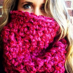 Raspberry Red EXTRA CHUNKY COWL, thick neck warmer, chunky scarf, womens cowl, extra warm, extra big, extra soft. $32.00, via Etsy.