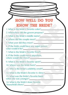 Bridal Shower Game Mason Jar Theme Shower by AestheticJourneys, $10.00