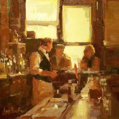 """Anne Blair Brown - """"Bar Keep"""" Original Oil on Canvas, 16"""" x 16"""