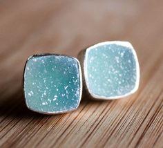 Turquoise Blue Druzy Stud Earrings