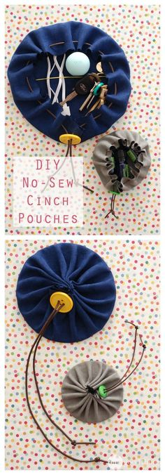 "DIY No-Sew Cinch Pouches · Jillee These adorable little no-sew pouches are perfect for all sorts of odds and ends….and are a ""cinch"" to make! Sewing Projects For Kids, Sewing For Kids, Diy For Kids, Craft Projects, Crafts For Kids, Sewing Ideas, Project Ideas, Diy Bags For School, Fabric Crafts"