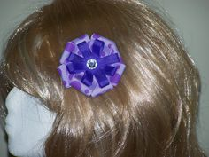 3 Inch Hair Bow Purple Polka Dot Bow Alligator by HairBowAplenty